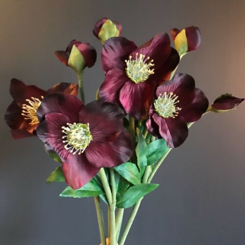 Xmas Rose Artificial Purple Flowers Bunch of 5 Burgundy Faux Silk Hellebores