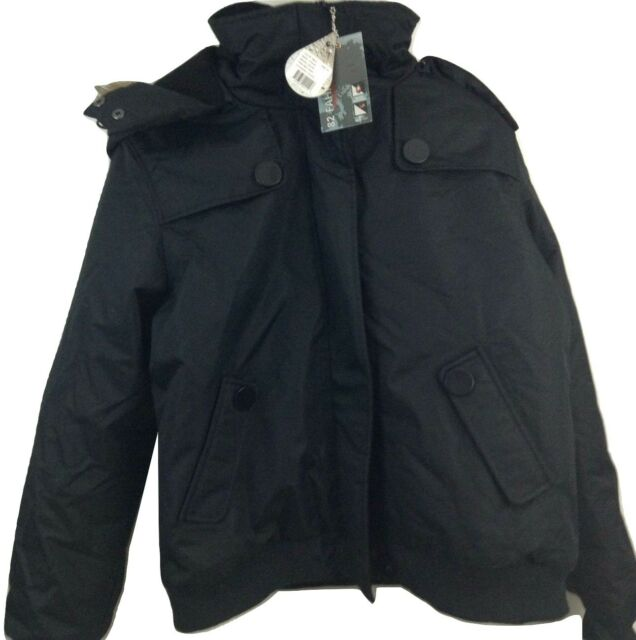 82 Fahrenheit Womens Heavy Bomber Hooded Coat W Faux Fur Trim Sz 4X Black
