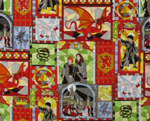 HARRY POTTER COTTON FABRIC  STAINED GLASS WINDOWS  HERMIONE CAMELOT  BY THE YARD