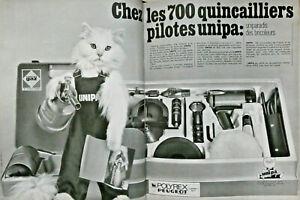 PUBLICITE-PRESSE-1967-700-QUINCAILLIERS-PILOTES-UNIPA-POLYREX-PEUGEOT-GAZ-CHAT