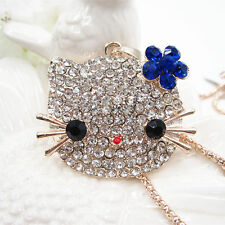 Betsey Johnson BLUE CRYSTAL FLOWER HELLO KITTY Bobtail Cat Pendant Necklace