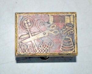 Old-Vintage-Collectible-Brass-Carved-Enamel-Sewing-Box-Needle-Thread-Case