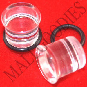 1332-Acrylic-Single-Flare-Clear-7-16-034-inch-Plugs-11mm-MallGoodies-1-Pair-2pcs