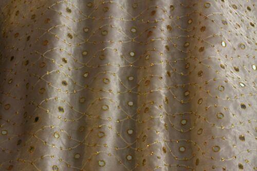 "Mirror Embroidery Metallic Silk Organza Fabric 44/"" W EB-917B 1.70 Yard Piece"