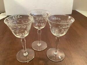 Set-of-3-Etched-Floral-Stemmed-Cordial-Liqueur-Glasses-Barware