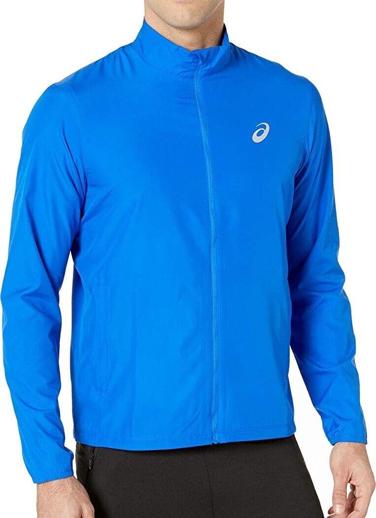 Asics Silver Mens Running Jacket - Blue