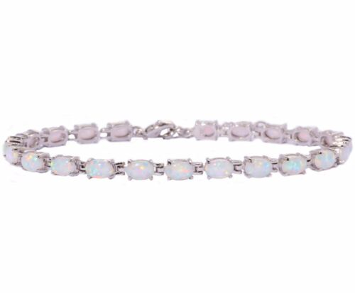 "Silver White Fire Opal Women Jewelry Fashion Gemme Chaîne Bracelet 8 1//4/"" OB32"
