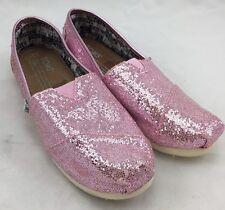 Toms Girls Pink Glitter Slip-On Loafer Flats size Y 3 $54 ns8/13