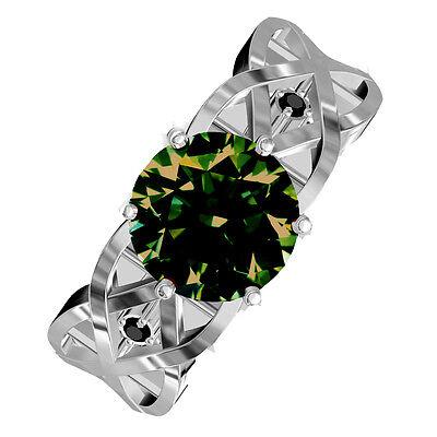 1.66 ct si1//BROWN GREEN REAL MOISSANITE /& NATURAL BLACK DIAMOND .925 SILVER RING