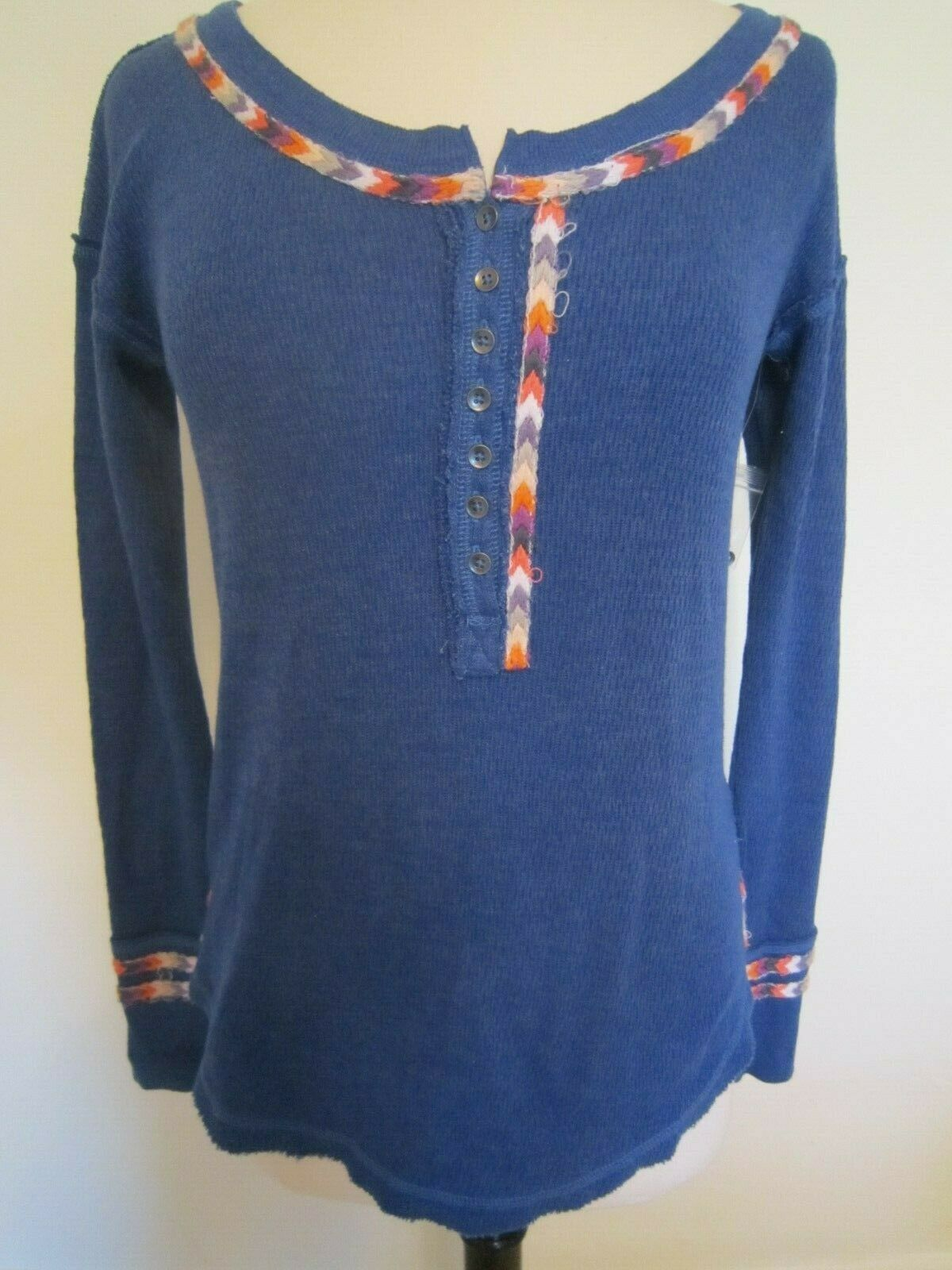 New We The Free Free People bluee Rainbow Henley Thermal Top Embroidered Small