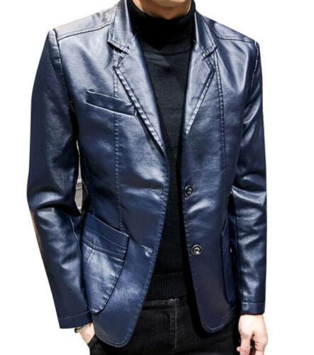 Men Leather Jacket Casual Blazer Wedding Dress Outwear Slim Business Coat Lapel