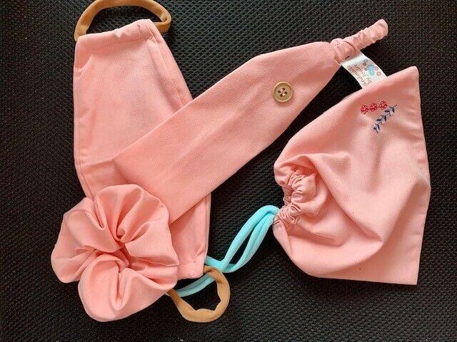 Face mask travel kit- Face mask, hairband, scrunchie, drawstring bag Pink cotton