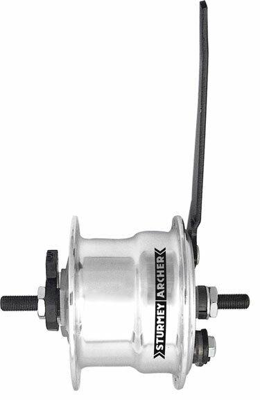 36h silver Sturmey Archer X-FD 70mm drum brake front hub