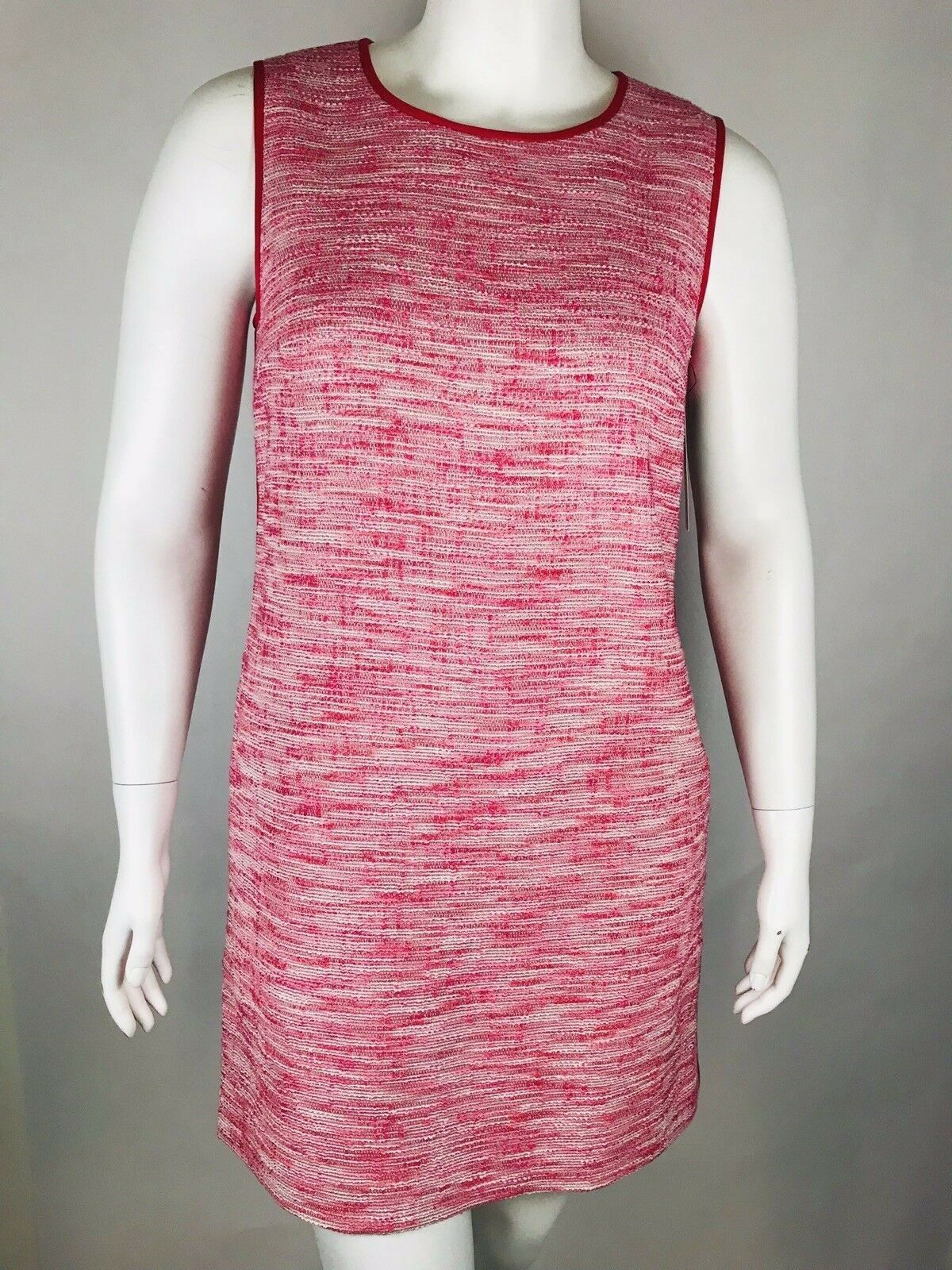 New DKNY Womans Runway Sleeveless Bloom Tweed Shift Sleeveless Dress Sz 14 NWT