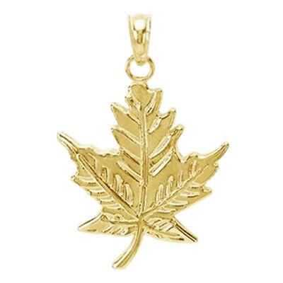 Vintage Solid 14k Yellow Gold Pendants Leaf Maple Diamond Cut Design Charms Art Deco Jewelry L3