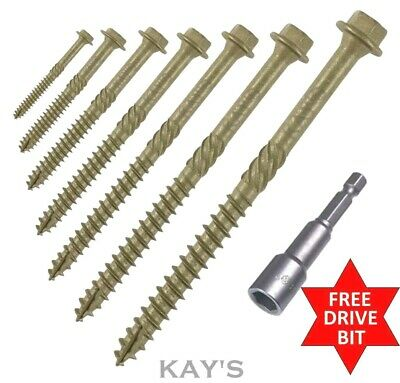 "6.7 x 200mm 8/"" HEX HEAD LANDSCAPE WOOD SCREWS SLEEPER DECKING TIMBER FIX IN-DEX"