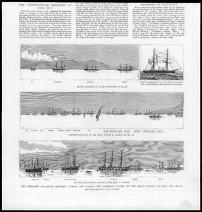 1886-Antique-Print-GREECE-TURKEY-Crete-Suda-Bay-Fleets-Ships-Anchor-125