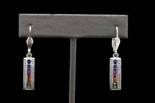 925 Sterling Silver Art Deco MultiColor Rainbow 3 Row Sapphire Dangle Earrings