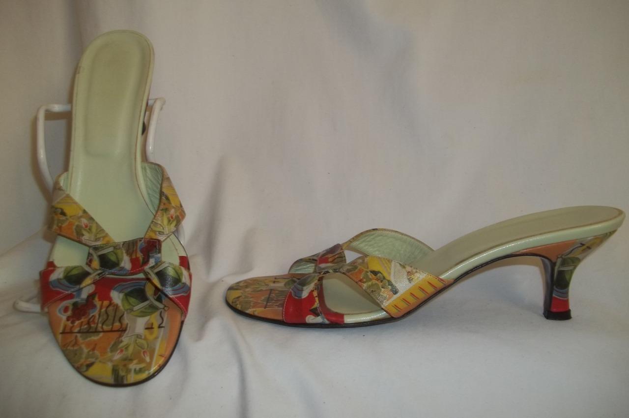 ICON shoes Multicolor & Mint Green Leather Sandal Slides Mules 8 M
