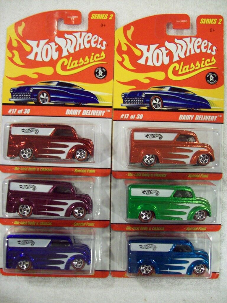 '06 HW Classics Series 2 Dairy Delivery in all 6 Couleurs
