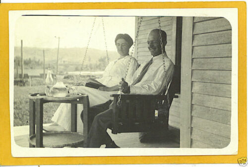 Real Photo Postcard RPPC Couple Porch Swing Cold Drink