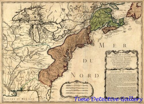 Poster in 5 Sizes Map of the French /& Indian War 1756