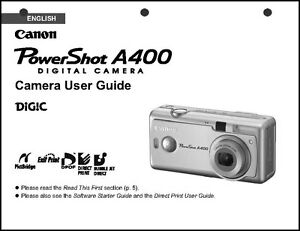 canon powershot a400 digital camera user guide instruction manual ebay rh ebay com canon powershot a400 user manual canon powershot a400 manual free download