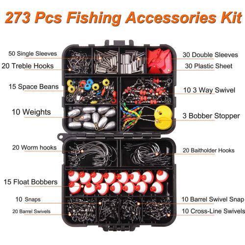 273Pcs Fishing Accessories Tackle Kit Swivels Snaps Sinker Slides Hooks Floats