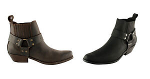 Men-s-Cowboy-Western-Ankle-Boots-Leather-Black-Brown-UK-Size-5-6-7-8-9-10-11-12
