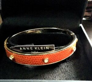 Anne-Klein-034-Dalton-034-Gold-Tone-Orange-Leather-Bangle-Bracelet
