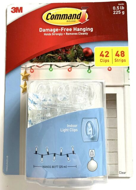 3M Command Damage-Free Indoor Holiday Light Clear 42 Clips/48 Strips .5lb x clip   eBay