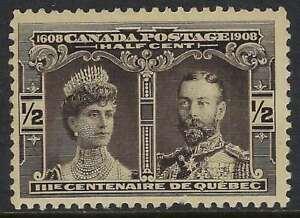 Scott-96-1-2c-Black-1908-Quebec-Tercentenary-Prince-of-Wales-short-perf-FVFNH