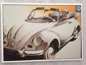 Own It! Volkswagen Cabriolet Lady Post Card 1st On  Car Postcard