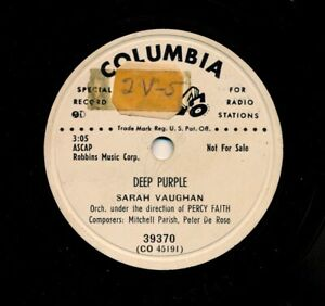 SARAH-VAUGHAN-on-1951-Columbia-39370-Deep-Purple-These-Things-I-Offer-You