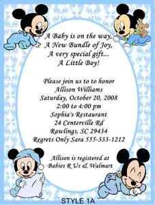 Mickey minnie daisy duck baby shower invitations ebay image is loading mickey minnie daisy duck baby shower invitations filmwisefo