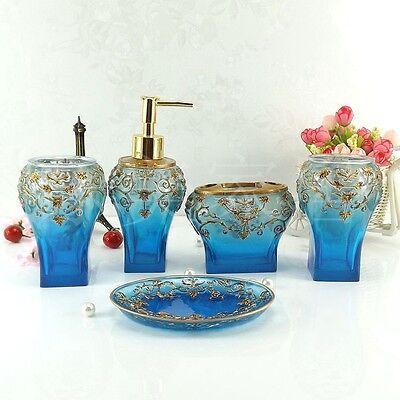 5PC Blue Bathroom Accessory Set - Soap Dish Dispenser Tumbler Toothbrush Holder