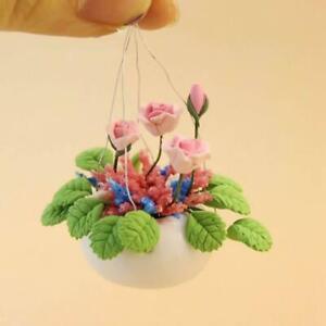Schoene-Blumenpflanze-1-12-Miniatur-Ton-Puppenhaus-Zimmer-Fee-Garten-De-Lilk-D5C3