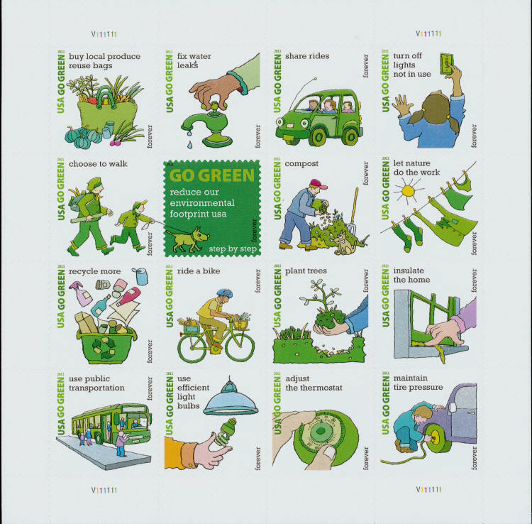 2011 44c Forever Go Green, Sheet of 16 Scott 4524 Mint