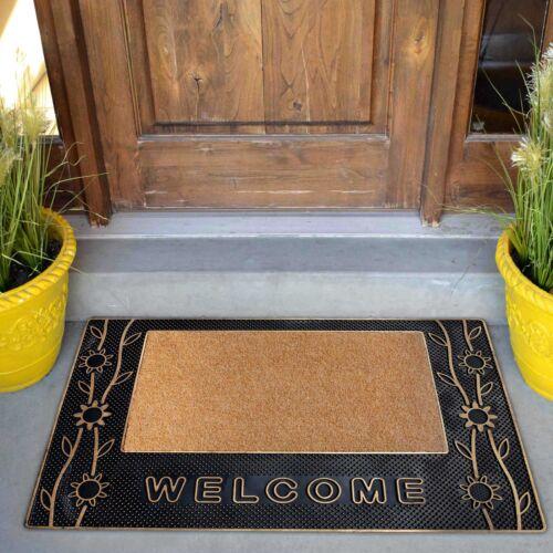 Welcome Mat Doormat Indoor Outdoor Black w// Gold Trim Floral Welcom Rug