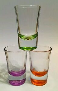 12 x COLOURED SHOT GLASSES