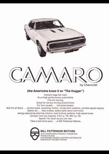 "1967 CHEVROLET CAMARO SS AD A4 CANVAS PRINT POSTER 11.7""x8.3"""