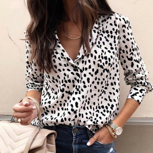 Damen V-Ausschnitt Langarm Leopardenmuster Lose Baggy T-Shirts Tops Bluse DE