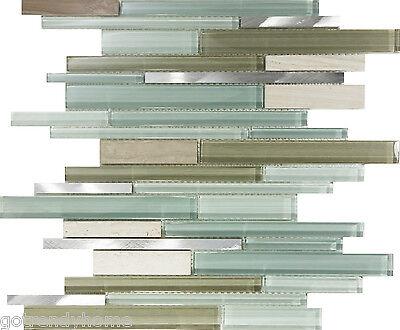 SAMPLE- Green Glass Stainless Steel Natural Stone Mosaic Tile Sink Backsplash