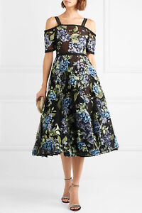 88f191aa76ede  1095 NEW Marchesa Notte 3 D Blue Hydrangea Midi Tea Dress Black 0 2 ...