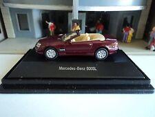 SCHUCO  MERCEDES BENZ  500 SL RED / BURGUNDY  CONVERTIBLE  1/87 HO   DIE CAST