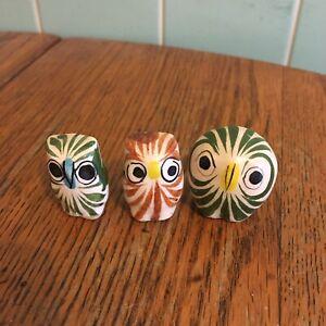 Vtg-Tonala-Mexican-Pottery-owl-figurines-Set-3-hand-painted-folk-art-green-white