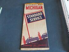 Vintage Road Map 1940's  Michigan Standard  Gas Oil   Lot 17-1-C