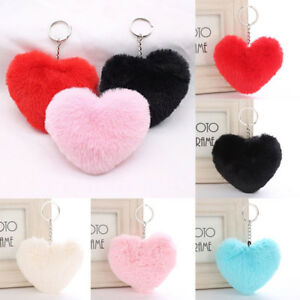Women-Cute-Fluffy-Keychain-Heart-Shape-Key-Ring-Handbag-Pendant-Accessory-Decor