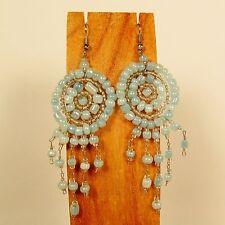 "2 1/2"" LONG Light Blue Handmade Dream Catcher Style Dangle Seed Bead Earring"