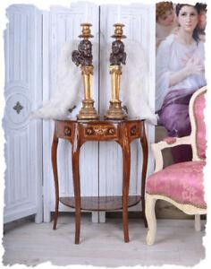Wandkonsole-franzoesisch-LOUIS-XV-barocker-Beistelltisch-Intarsien-Nussbaum